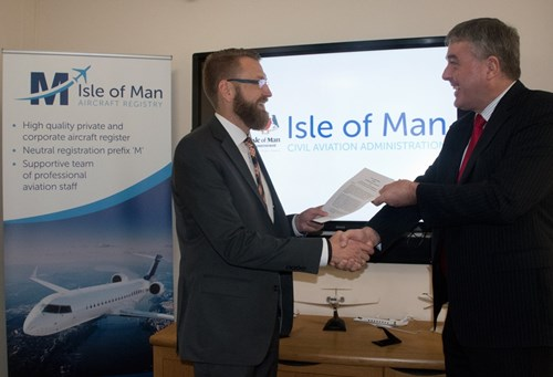 Thomas Pantin (left) representing the LBA, and Simon Williams, Director of Civil Aviation (Isle of Man).